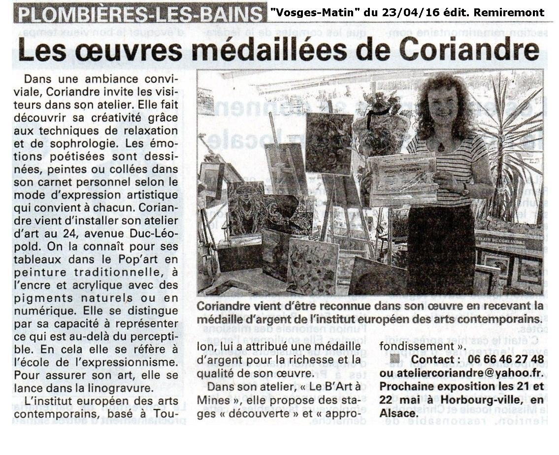 Les oeuvres médaillées de Coriandre