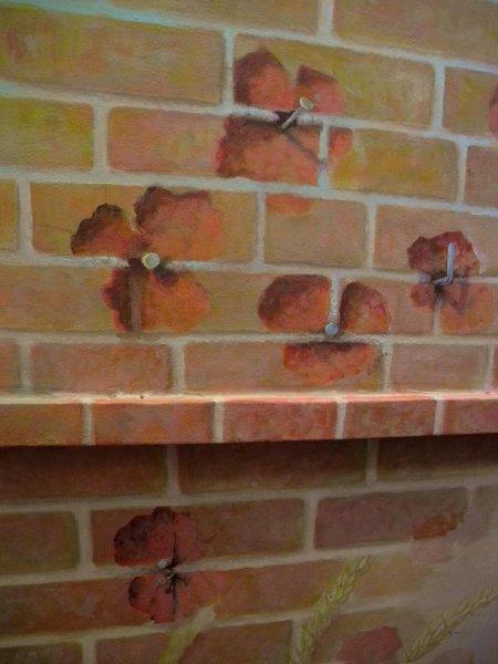 Coquelicots - briques clouées