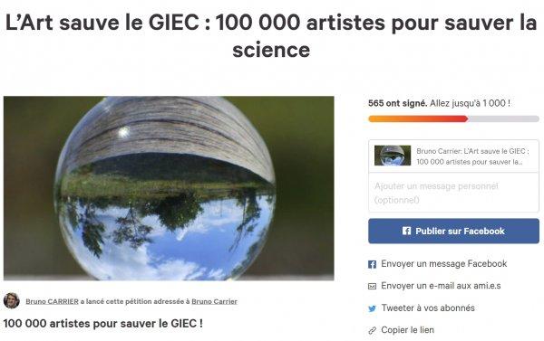 Signez L'Art sauve le GIEC : 100 000 artistes pour sauver la science
